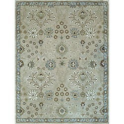 Hand-tufted Genus Beige/ Blue Wool Rug (5' x 7'6)