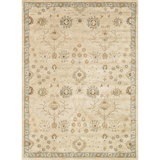 Hand-tufted Mason Beige/ Blue Wool Rug (5' x 7'6)
