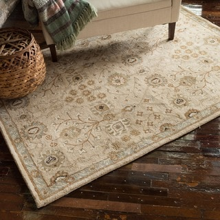 Hand-tufted Mason Beige/ Blue Wool Rug (5' x 7'6)