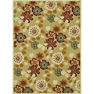 Power-loomed Chime Beige Rug (5'3 x 7'7)