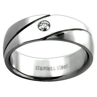 Stainless Steel Men's Cubic Zirconia Wedding-style Band
