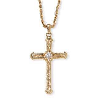 PalmBeach Yellow Goldtone White Crystal Cross Necklace Tailored