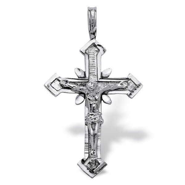 PalmBeach 14k White Gold Crucifix Pendant Tailored