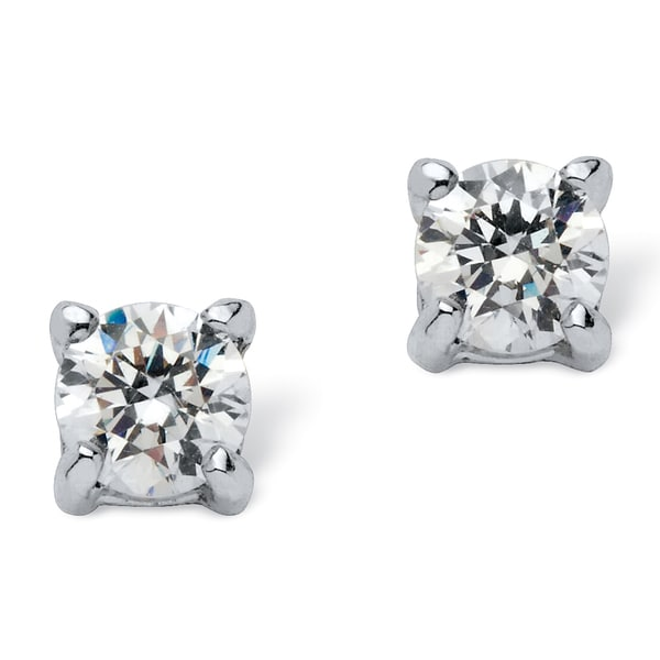 PalmBeach CZ Sterling Silver Cubic Zirconia Stud Earrings Classic CZ