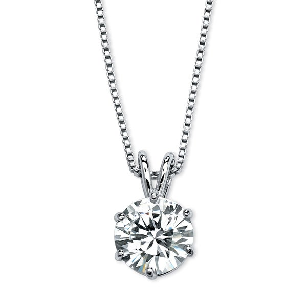 "PalmBeach 3 TCW Round Solitaire Cubic Zirconia Necklace in Platinum over .925 Sterling Silver 18"" Classic CZ"