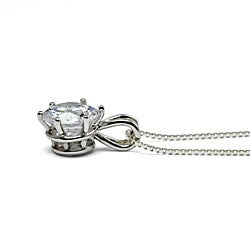Ultimate CZ Platinum over Silver Cubic Zirconia Solitaire Necklace