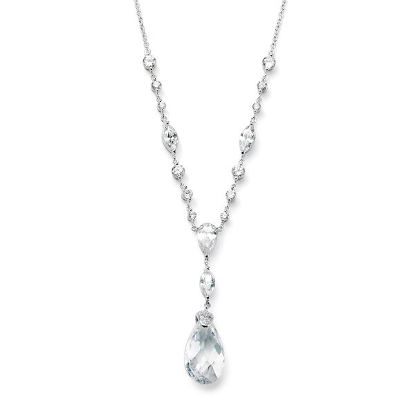 """20.41 TCW Pear-Cut Cubic Zirconia Sterling Silver """"Y"""" Pendant Necklace 18"""" Glam CZ 8281671"""