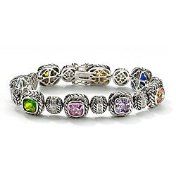 Lillith Star Silvertone Cubic Zirconia and Glass Bracelet