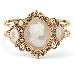 PalmBeach Yellow Goldtone Lucite Cameo Bangle Bracelet