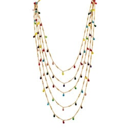 Lillith Star Goldtone and Fancy-cut Colorful Bead Bib Necklace