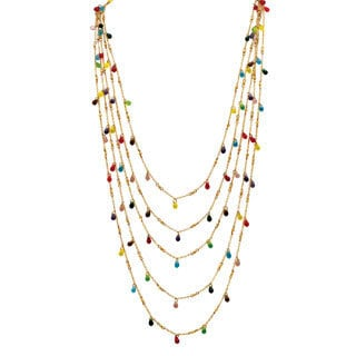 PalmBeach Goldtone and Fancy-cut Colorful Bead Bib Necklace Color Fun