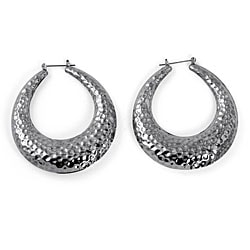 Toscana Collection Silvertone Hammered Hoop Earrings