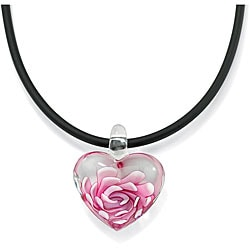 Lillith Star Pink Glass Heart Black Cord Necklace
