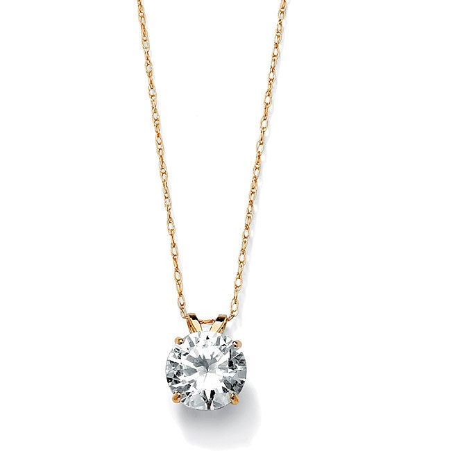 PalmBeach 2 TCW Round Cubic Zirconia Solitaire Pendant Necklace in 10k Gold Classic CZ
