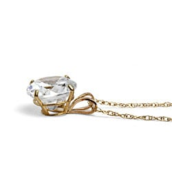 Palmbeach CZ 10k Yellow Gold Cubic Zirconia Solitaire Necklace