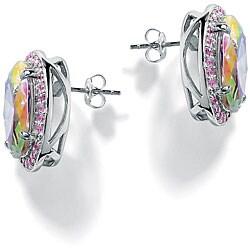 PalmBeach Silver Aurora Borealis and Pink Cubic Zirconia Earrings Color Fun