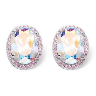 PalmBeach 26.81 TCW Oval Cut Aurora Borealis Cubic Zirconia Earrings in Sterling Silver Color Fun