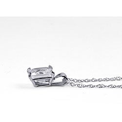 Ultimate CZ 10k White Gold Square Cubic Zirconia Solitaire Necklace