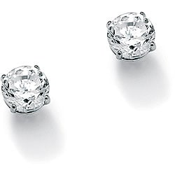 PalmBeach CZ 10k White Gold Cubic Zirconia Stud Earrings Classic CZ