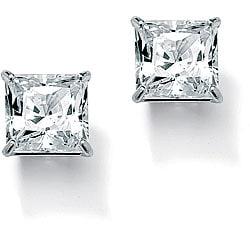 PalmBeach CZ 10k White Gold Cubic Zirconia Stud Earrings Classic CZ
