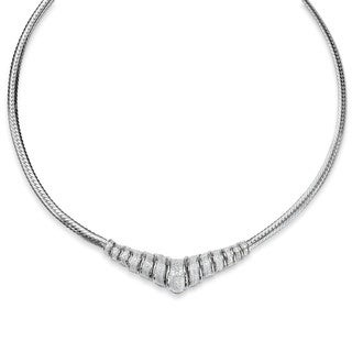 PalmBeach 1/10 TCW Round Diamond Chevron and Snake-Link Necklace in Platinum over .925 Sterling Silver 20""