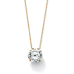 Ultimate CZ 10k Yellow Gold Cubic Zirconia Solitaire Necklace
