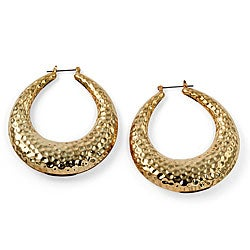 PalmBeach Goldtone Hammered Hoop Earrings Bold Fashion
