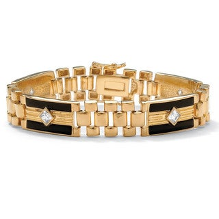PalmBeach Men's 1.48 TCW Cubic Zirconia and Onyx Panther-Link Bracelet in 14k Gold-Plated