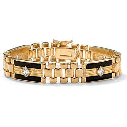 Ultimate CZ 14k Goldplated Men's Onyx and Cubic Zirconia Bracelet