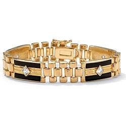 Ultimate CZ 14k Goldplated Men's Onyx and Cubic Zirconia Bracelet