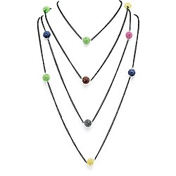 Lillith Star Black Ruthenium Multi-colored Crystal Ball Necklace