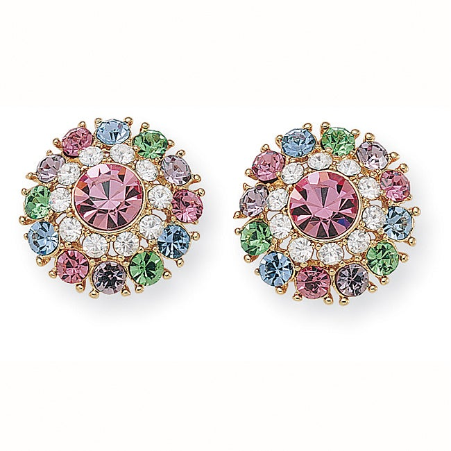 Lillith Star Goldtone Round Multi-colored Crystal Stud Earrings