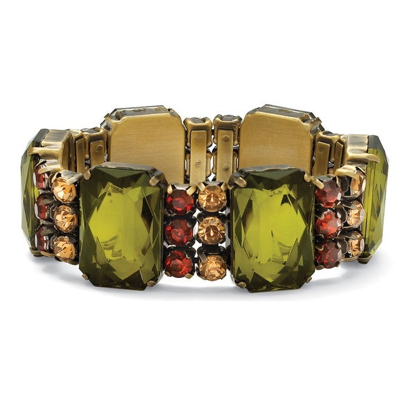 """PalmBeach Olive, Champagne and Amber Crystal Stretch Bracelet in Antiqued Yellow Gold Tone 7"""" Bold Fashion"""