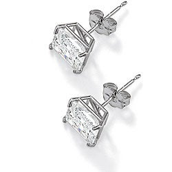 Ultimate CZ 10k White Gold Square Cubic Zirconia Stud Earrings