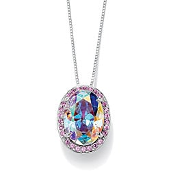 PalmBeach Silver Aurora Borealis and Pink Cubic Zirconia Necklace Color Fun