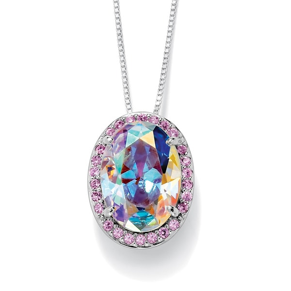 "PalmBeach 13.41 TCW Oval-Cut Aurora Borealis Cubic Zirconia Sterling Silver Drop Pendant and Chain 18"" Color Fun"