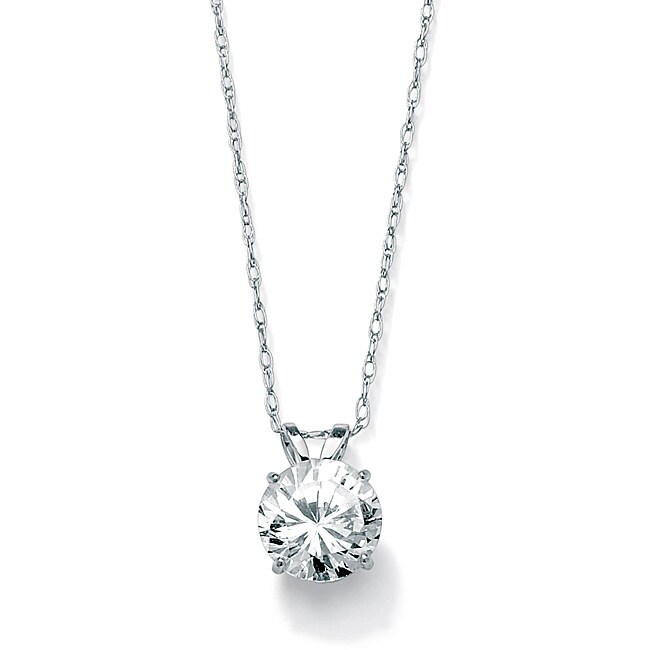PalmBeach 1.25 TCW Round Cubic Zirconia Solitaire Pendant Necklace in 10k White Gold Classic CZ