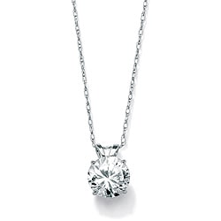 Ultimate CZ 10k White Gold Cubic Zirconia Solitaire Necklace