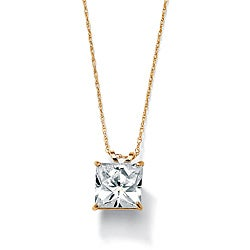 Ultimate CZ 10k Yellow Gold Square Cubic Zirconia Solitaire Necklace