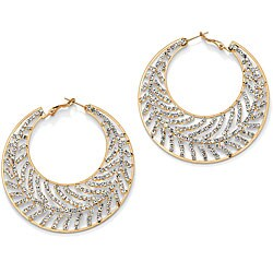 Lillith Star Goldtone Crystal Leaf Hoop Earrings