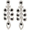 Lillith Star Silvertone White and Black Crystal Drop Earrings