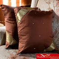 Set of Two Sari Fabric Brown Decorative Pillow Covers (India)