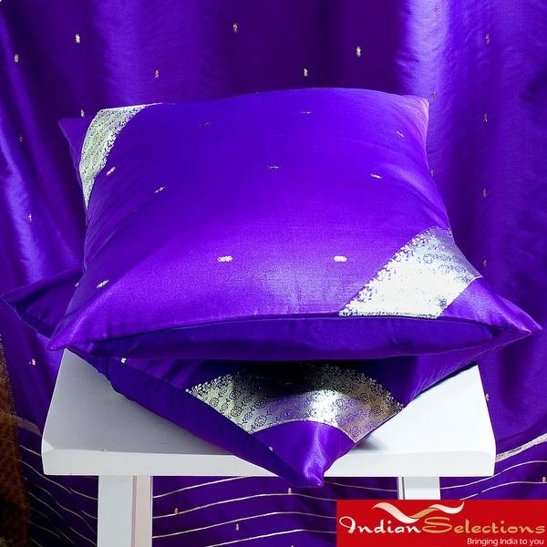 Set of Two Sari Fabric Purple Decorative Pillow Covers (India)