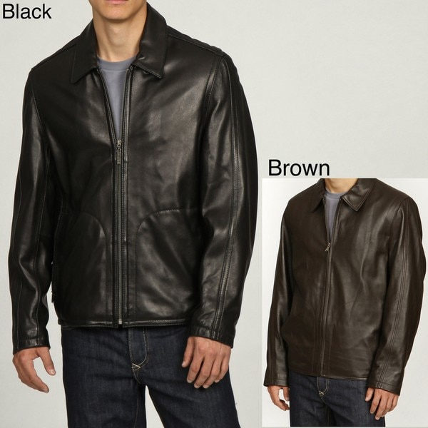 Izod Men's Big and Tall Classic Leather Jacket