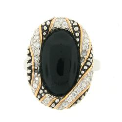 Meredith Leigh Sterling Silver Onyx and Cubic Zirconia Ring