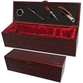 VIP Wine Accessories 4-piece Rosewood Wine Accessory Box