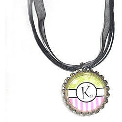 Green/ Pink Striped Monogram Bottle Cap Necklace