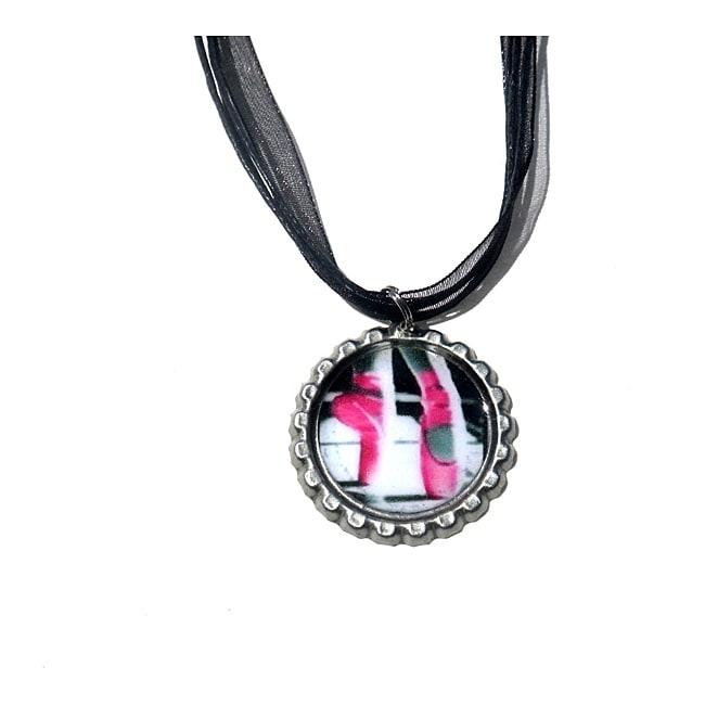 Hot Pink Ballet Bottle Cap Necklace
