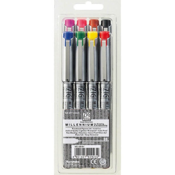 Zig Memory System Millennium Assorted Colors 0.65mm Markers (Pack of 8)