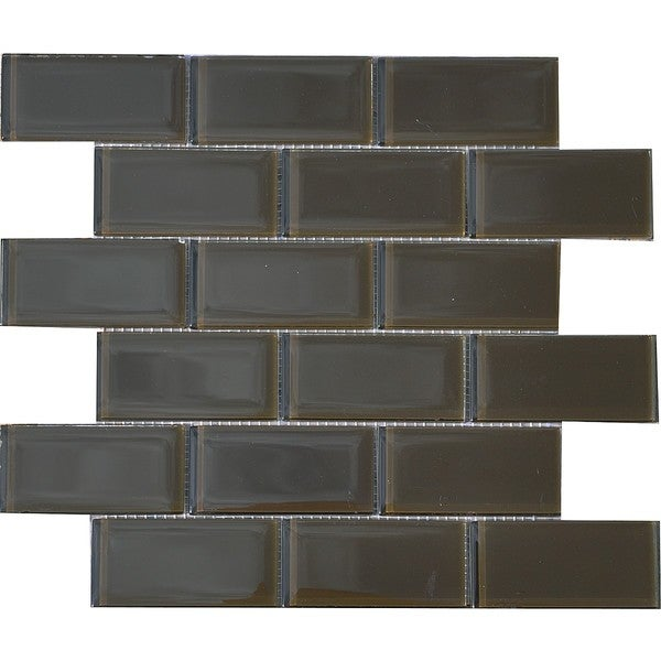 espresso brown 2x4 inch shiny glass tiles pack of 11 13796107